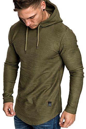 Amaci&Sons Herren Oversize Kapuzenpullover Hoodie Sweater Pullover Sweatshirt 4011 Khaki L