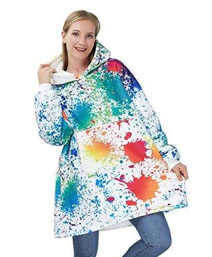 ALISISTER Übergroße Hoodie Decke Herren Damen Oversized Comfy Kapuzenpullover Sweatshirt 3D Graffiti Farbe Gedruckt Deckenpullover Cozy Sherpa Hoodie Kuschelpullover mit Tasche