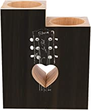 Romantic Wooden Heart Shaped Couple Candle Holders, Old Gibson Les Paul Guitar Head Candle Holder Heart Pedestal for Valen...