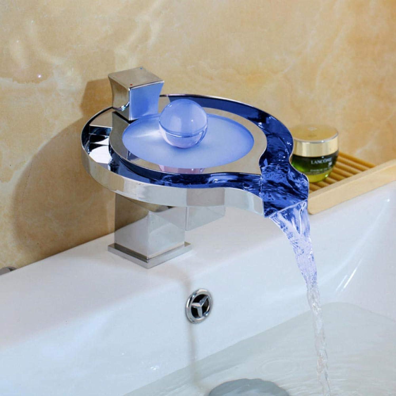 Hiwenr Led Bad Wasserhahn Messing Chrom Wasserfall Waschbecken Wasserhhne 3 Farbwechsel Leitungswasser Power Basin Led Mischbatterie