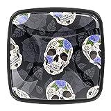Tiradores cajón cristal 4 piezas perillas gabinete,Rosas góticas y cráneos de azúcar. ,para puerta cocina escritorio tocador