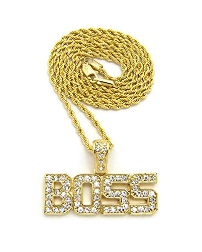 Crown Gold Iced Out BOSS Pendant with 18' 20' 24' Box, Cuban, or Rope Chain Necklace (Gold w/20 Rope Chain)