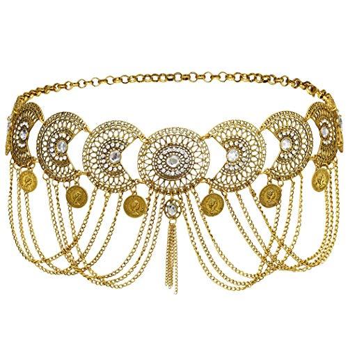 NSLS Egyptian Crystal Rhinestone Belly Dance Performances Gold Necklace Indian Beach Gypsy Tassel Waist Belt Belly Body Chain Jewelry (G0436N)