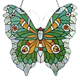 Bieye W10026 Swallowtail Mariposa Butterfly Tiffany Style Stained Glass Window Panel Hangings with Chain, 22'L...