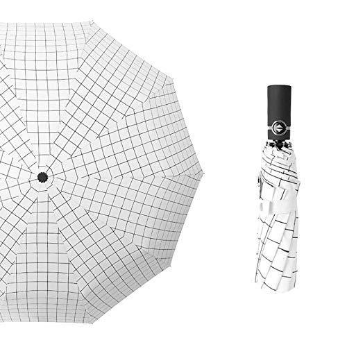A-hyt Klassische Mode Männer und Frauen voll machineleleiche Fold-Geschäfts-Regenschirm Freier Stil (Color : White Plaids)