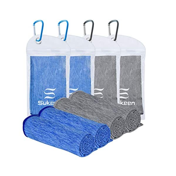 Sukeen Striped Cooling Towels 4 Packs Cooling Neck and Face, Ice Towel, Microfiber Towel, Soft Breathable Chilly Towel for Sports, Yoga, Gym, Running, Fitness, Workout, Summer Heat 40″x12″