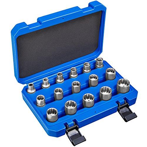 TecTake Juego de llaves tubulares dentados exterior/interior 1/2' | Acero al...