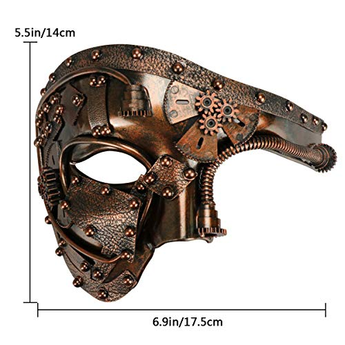 Coddsmz Masquerade Mask Steampunk Phantom of The Opera Mechanical Venetian Party Mask (Antique Copper) steampunk buy now online