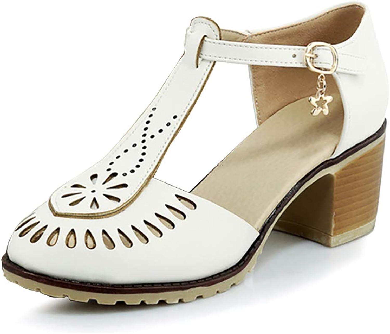 Catata Women Summer T-Shape Closed Toe Flats Hollow Buckle Sandals