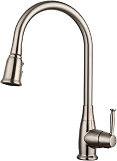 LORDEAR High Arc Deck Mounted 3 Water Settings Single Handle Stainless Steel Brushed Nickel Pullout Spray Kitchen Faucets,  Pull Out Kitchen Faucets