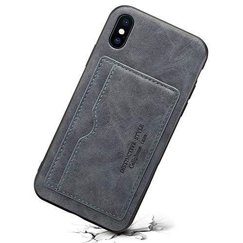 Funda caretra Tarjetero cuero sintético con ranura para tarjetas, fino y ultraligero con función de soporte, Gris, iPhone 7 Plus,iPhone 8 Plus