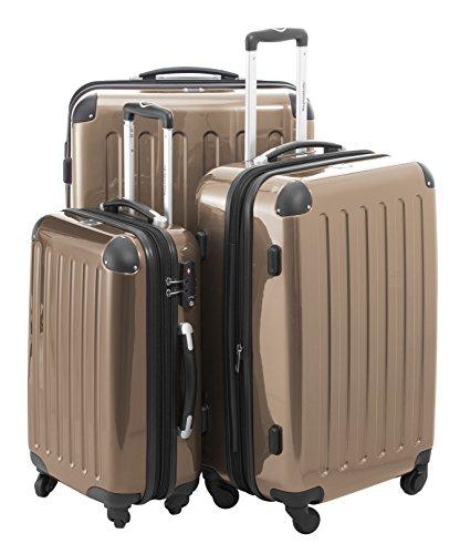 HAUPTSTADTKOFFER - Alex - 3er Koffer-Set Trolley-Set Rollkoffer Reisekoffer Erweiterbar, 4 Rollen, TSA, (S, M & L), Champagner