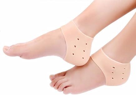 HappenWell heel socks moisturizing silicone gel for heel pain relief, Heel Protector, Soft Open Toe Anti-cracking Moisturizing Socks (Heel anti crack, Skin)
