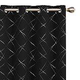 UMI Amazon Brand Cortinas Opacas con Aislamiento Térmico para Salón Oficina Hotel Decorativas con Ojales 2 Piezas 168x229cm Negro