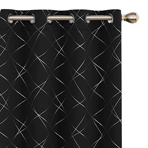 UMI Amazon Brand Cortinas Habitacion Opacas de Motivos línea Oblicua con Ojales 2 Piezas 140x260cm Negro