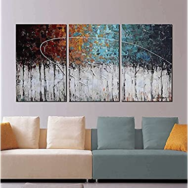 ARTLAND  Color Forest  3-Piece Gallery-Wrapped Abstract Painting On Canvas Wall Art Decor Home Decoration 16x36 inches
