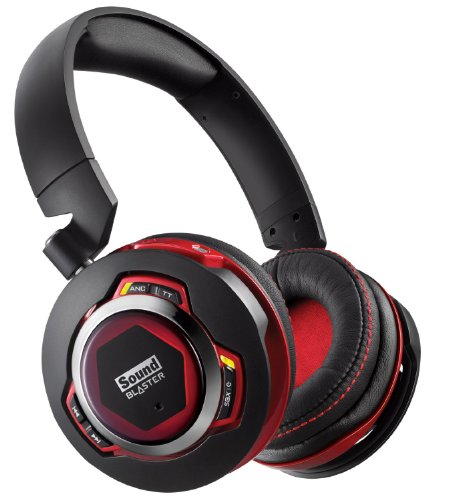 Creative Sound Blaster EVO ZxR Over-ear foldable headphones Noise cancelling Bluetooth and NFC with iOS Android App control and built in audio processing - works with PS4