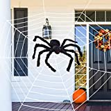 GonLei Halloween Decorations - 12 FT Giant Round Spider Web and Fake Large 20 inches Spider Props Scary Halloween Yard Door & Outdoor Decor Halloween Decorations Party Favors