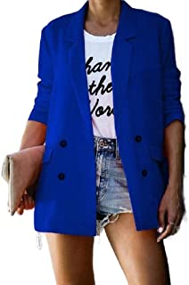 Howely Womens Casual Lapel Outwear Loose Double-Breasted Small Blazer
