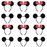 12 Pcs Diadema Para Orejas Ratón, Orejas de Minnie Mouse, for Masquerade, Birthday Party, Party Night, Cartoon Club (Red and Black)