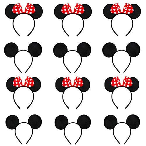 12 Oreilles de Minnie Mouse, Mickey Minnie Bandeaux, Utilisé Pour la Mascarade, Fête D'anniversaire, Soirée, Club de Dessin Animé (Rouge et Noir)