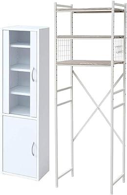 【食器棚&レンジ台セット】山善 食器棚 幅32×奥行29×高さ120cm スリム マグネット式 棚板可動 一人暮らし 組立品 ホワイト CCB-1230(WH) + 専用レンジ台