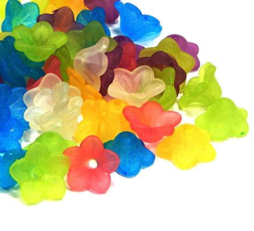 100stk Blütenkelch 7 x 11 mm Frosted Blumen Perlen Kappen Acryl Engelperlen Mix Farben Matt Blüte Lilien Deko Kunstblume Schmuck Basteln D125