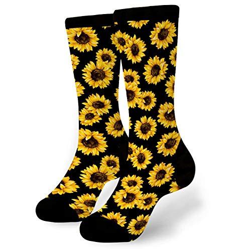 Aeoiba Funny Socks For Men and Women Beautiful Sunflower Pattern Dress Socks Novelty Daily Wear Sock Under Knee High Sock for Golfing Fishing Hunting Camping Racing Football Biking