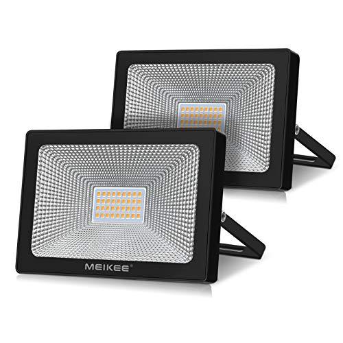Projecteur 30w LED 3200lm lot de 2, éclairage de sécurité IP66 étanche pour remplacer Lampe 3000K Blanc Chaud, spot led exterieur Luminaire lumineux idéal pour Courloirs, Terrasses et Escaliers