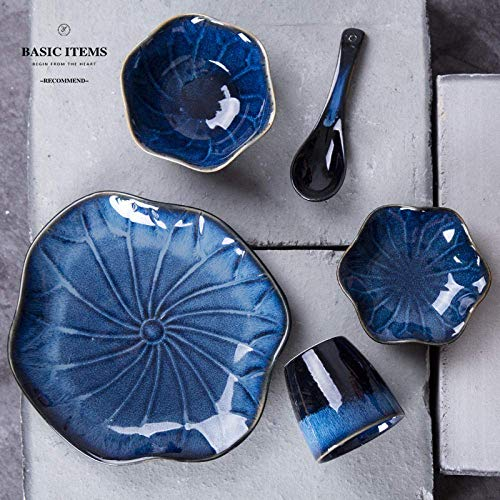 BINGFANG-W Salad Plates Dessert Plates Pasta Bowls Dinnerware Sets Japanese-Style Kiln Change One Person Food Ceramic Cutlery Set Matching Dish Spoon Cup Plate Hotel Restaurant Kitchen