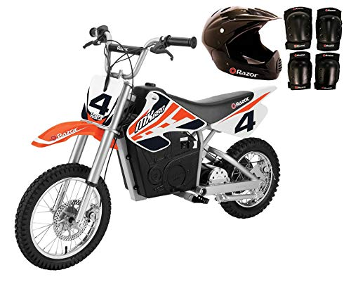 Razor MX650 Adult & Teen Dirt Rocket Ride On High-Torque Electric Motocross Motorcycle Dirt Bike, Speeds up to 17 MPH with Helmet, Elbow & Knee Pads, Orange