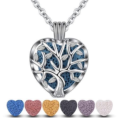 INFUSEU Family Tree of Life Essential Oil Diffuser Necklace with 7 Pcs Heart Shaped Lava Rock Stone Beads for Women Aromatherapy Jewelry