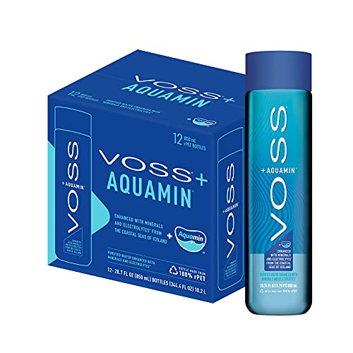 VOSS+ Aquamin - Water With Minerals and Electrolytes for Optimal Hydration, rPET Plastic Bottles, 12 Count, 850ml