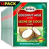 Grace Dry Coconut Milk Powder - 12 pack - No Preservatives No Refrigeration - Just Add Water - Milk Substitute - Coffee Creamer, Smoothies, Baking, Camping, Curries - Bonus Recipe eBook - 1.76 oz
