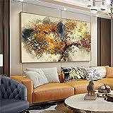 Póster de lienzo moderno Pintura sobre lienzo Árboles marrones con textura abstracta con hojas amarillas Pintura de arte de pared para decoración del hogar 40x65cm (16x26in) Marco interior