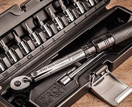 PRO BIKE TOOL 1/4 inch Drive Click Torque Wrench Set - 2 to 20 Nm - Kit d'entretien pour vélos de Route et de Montagne, Motorcycle Multitool - Comprend des Douilles Allen et Torx