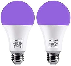 Escolite 7.5W UV LED Black Light Bulbs, A19 E26/E27 Medium Base Black light Bulb Glow in Dark, UVA Level 395-400nm, U...