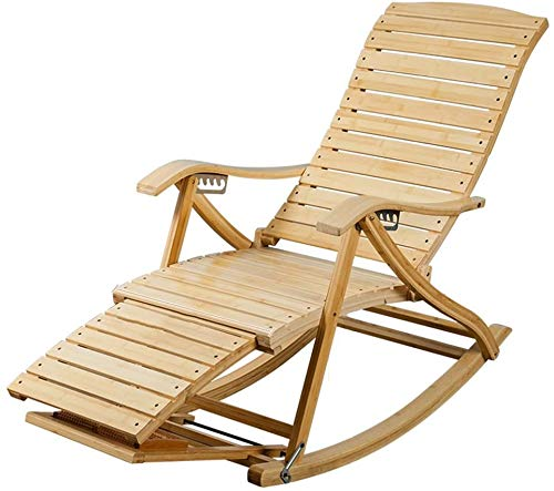 fuchangsi 6-Fach verstellbare Lehnstuhl faul Siesta Bambus Schaukelstuhl Alten Stuhl Stühle Bürostuhl Sessel Gartenstuhl Liegestuhl Sonnenliegestühle Klapp,Brown