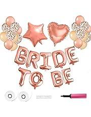 LATERN 40 cm BRIDE TO BE ballonger banderoll, rosa guld ballonger folieballong för bröllop möhippa fest, med luftpump, ballongklämmor, band