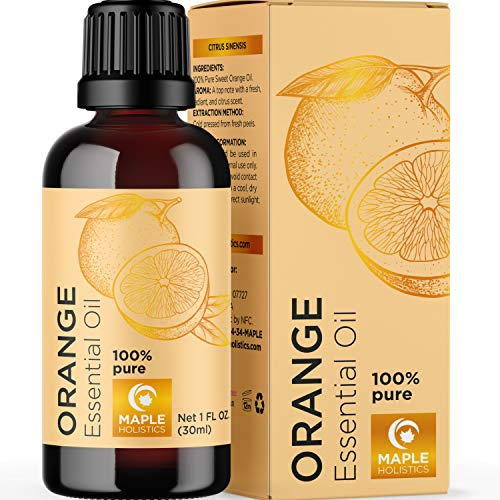 Sweet Orange Essential Oils for Diffusers - Cold Pressed Orange Oil Essential Aromatherapy Diffuser Oil - Citrus Essential Oil for Skin Focus Mood and Energizing Essential Oil for Humidifier Use