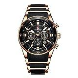 Relojes para Hombre Cronógrafo Reloj de Cuarzo analógico con Fecha Impermeable de Acero Inoxidable -D