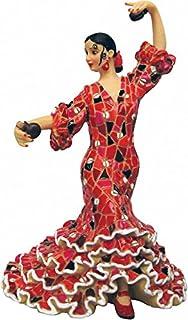 Spanish Art & Culture Figura de una Flamenca con Castañuelas y un Vestido Rojo en Mosaico