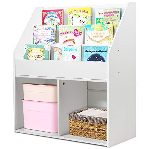 COSTWAY Bücherregal weiß, Kinderregal aus Holz, Aufbewahrungsregal freistehend, für das Arbeits-, Wohn- und Schlafzimmer