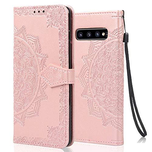 achoTREE Coque pour Samsung S10, Premium PU Cuir de Protection [Stand Support] [Porte-Cartes de Crédit] Portefeuille Étui Housse Coque pour Samsung Galaxy S10 - Or Rose