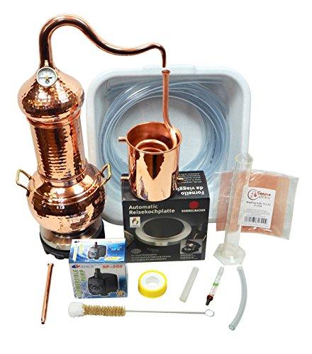 CopperGarden® Destille Essence Plus 2 Liter Kolonnenbrennerei - legal in DE, at, CH - Sorgenfrei Vollausstattung zur Herstellung von Aromen, Hydrolaten und ätherischen Ölen