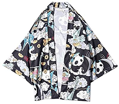 LifeHe Men's Japan Harajuku Panda Printed Kimono Cardigan Jackets Coat Streetwear