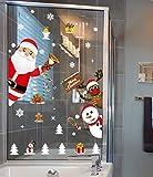 Yuson Girl Weihnachten Aufkleber Fenster Weihnachtsmann Elch Schneemann Abnehmbare Weihnachten Deko Wandtattoo Weihnachten Statisch Haftende PVC Aufkleber - 6