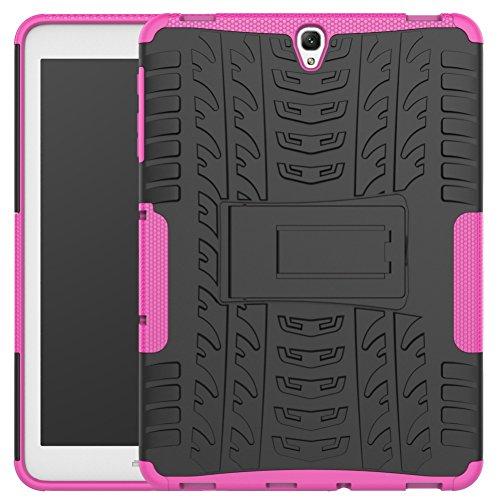 DWaybox Galaxy Tab S3 9.7 inch Custodia Hybrid Rugged Heavy Duty Armor Hard Back Cover Custodia with Kickstand per Samsung Galaxy Tab S3 9.7 inch 2017 SM-T820 / T825 (Hot Pink)