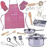 alles-meine.de GmbH 27 TLG. Backset / Kochset - Kinderküche - aus Metall - echte Blech / Backform + Küchenhelfer + Kinderschürze + Kochtöpfe - Backofen - Torte Kuchen Springform ..