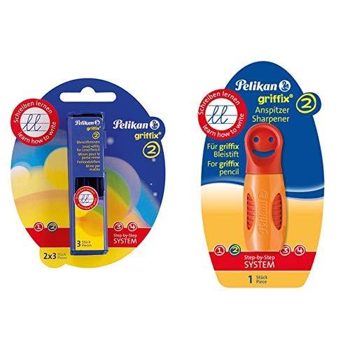 Pelikan Griffix Bleistiftminen HB 2 x 3 Blisterpackung & 723940 Griffix Anspitzer, orange